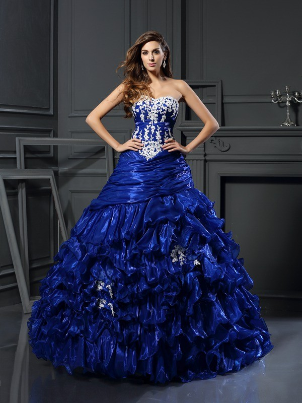 Beautiful You Ball Gown Sweetheart Beading Applique Long Tulle Quinceanera Dresses
