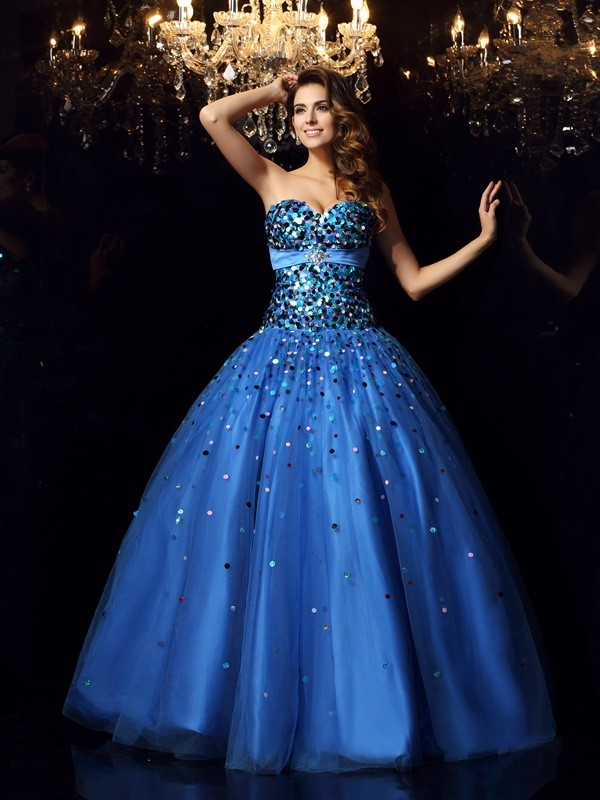 Touch of Texture Ball Gown Sweetheart Beading Long Satin Quinceanera Dresses