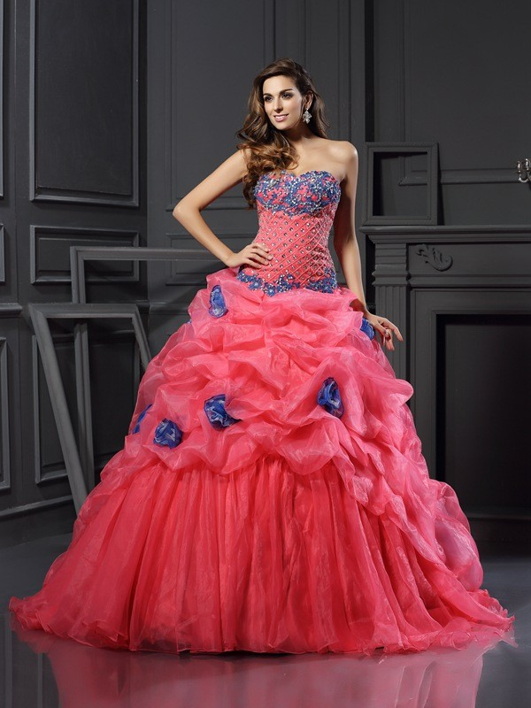 Naturally Chic Ball Gown Sweetheart Beading Long Organza Quinceanera Dresses