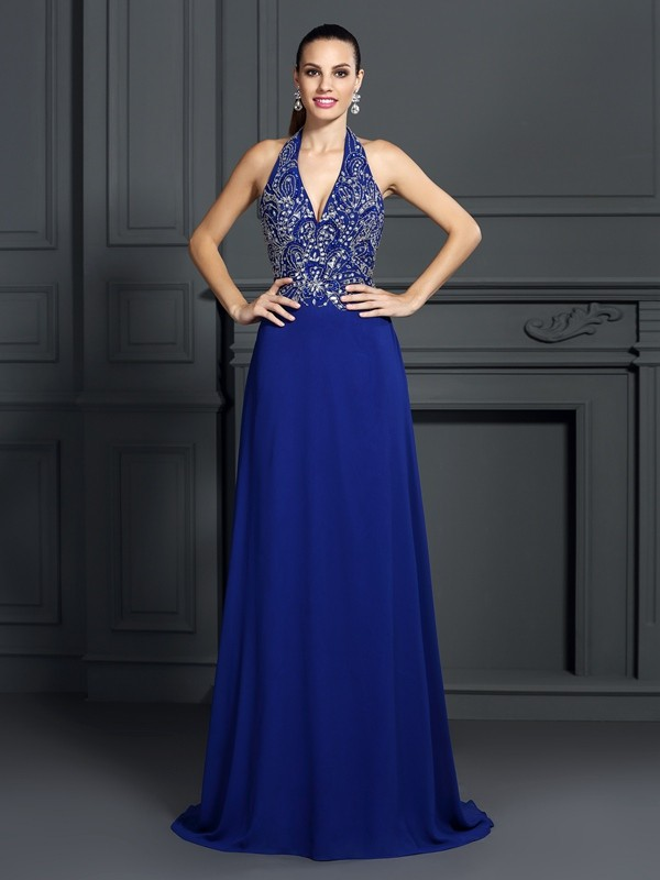 Cordially Delighted Princess Style Halter Applique Long Chiffon Dresses