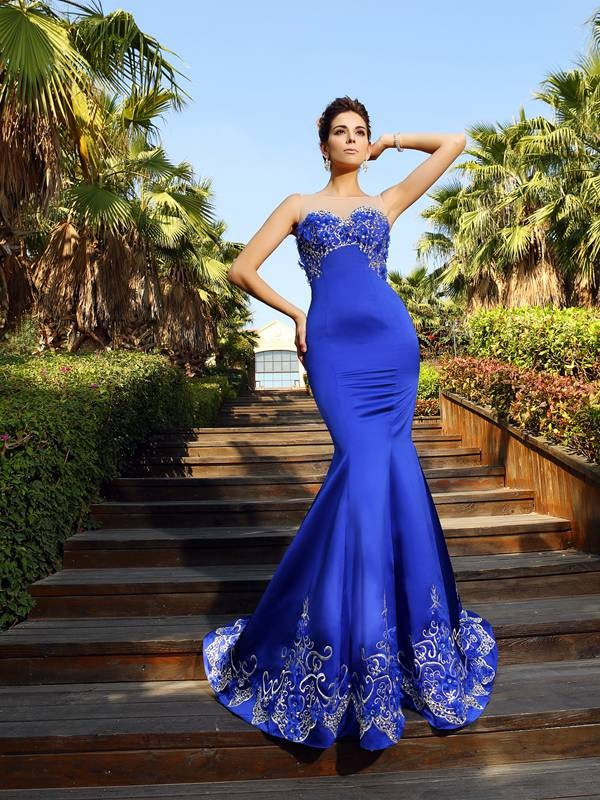 Open to Adoration Mermaid Style Sweetheart Beading Long Satin Dresses