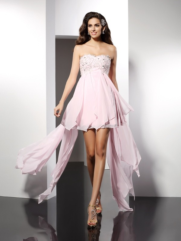 Memorable Magic Princess Style Sweetheart Applique High Low Chiffon Cocktail Dresses