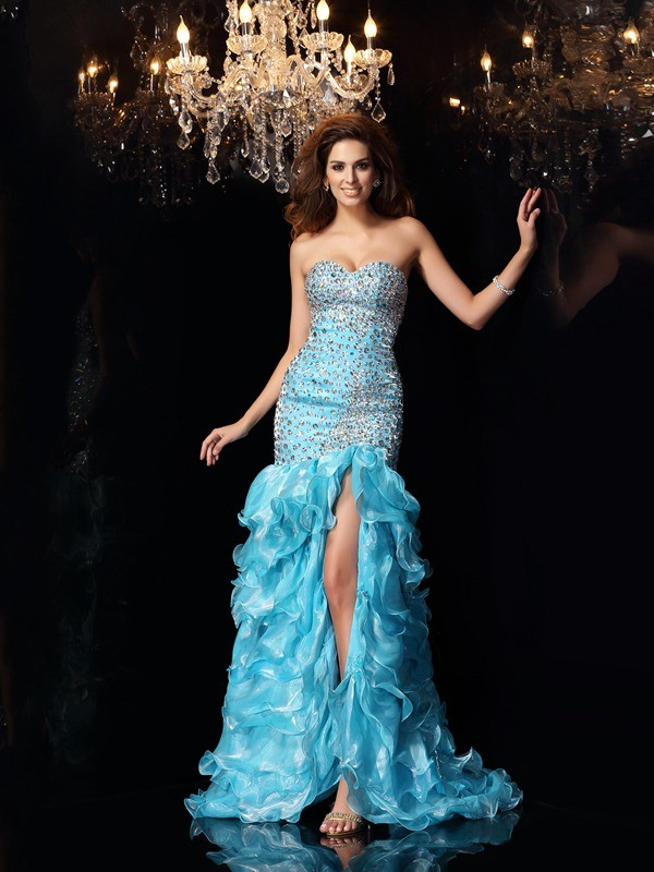 Fresh Picks Mermaid Style Sweetheart Beading High Low Organza Dresses