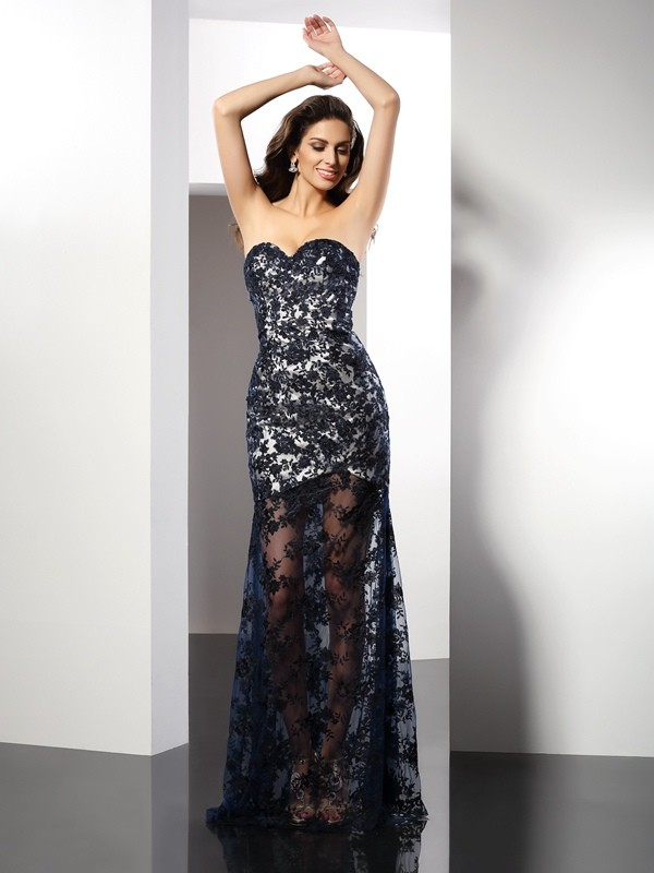 Eye-Catching Charm Sheath Style Sweetheart Lace Long Satin Dresses