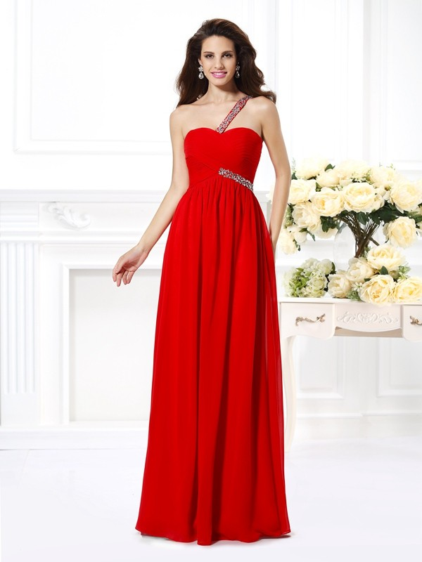 Voiced Vivacity Princess Style One-Shoulder Beading Long Chiffon Dresses
