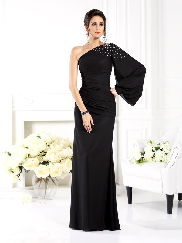 Confident Option Sheath Style One-Shoulder Beading Long Chiffon Mother of the Bride Dresses