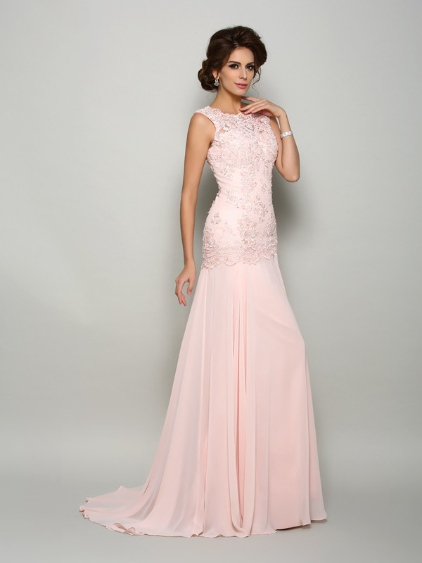 Glitz the Spot Mermaid Style Scoop Beading Long Chiffon Mother of the Bride Dresses