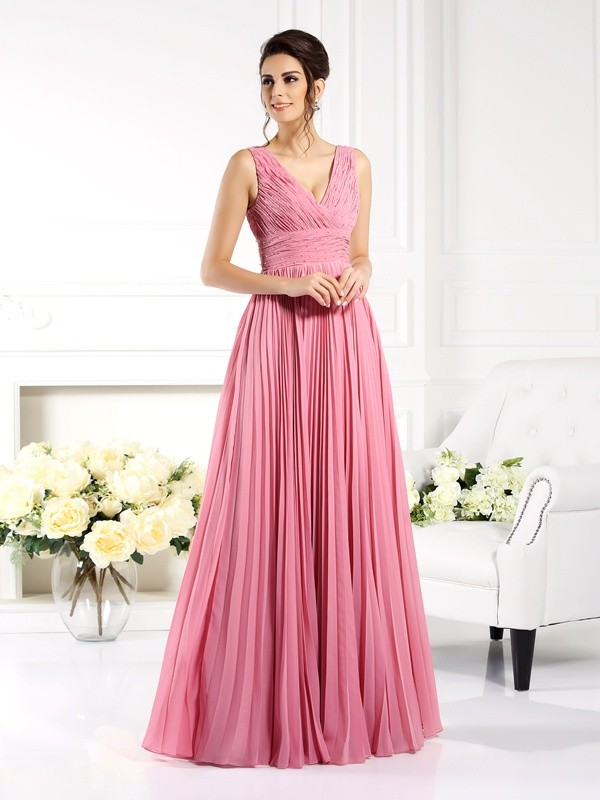 Automatic Classic Princess Style Sweetheart Pleats Long Chiffon Mother of the Bride Dresses