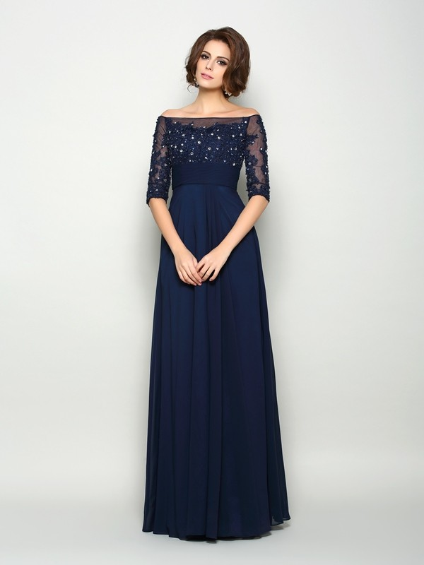 Festive Self Princess Style Off-the-Shoulder Beading Long Chiffon Mother of the Bride Dresses