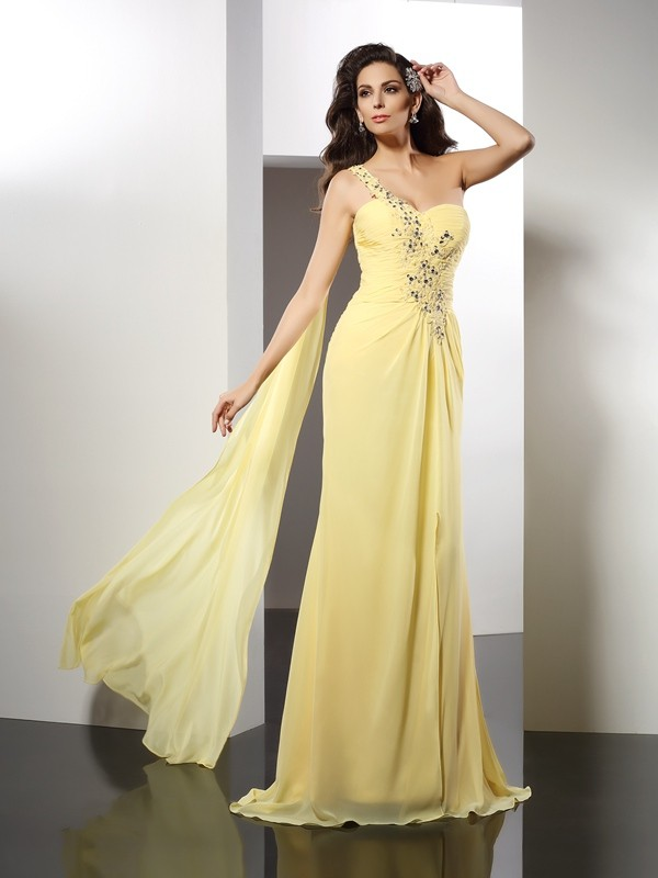 Pretty Looks Princess Style One-Shoulder Beading Long Chiffon Dresses