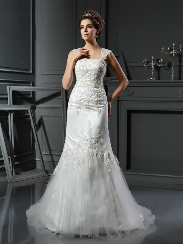 Absolute Lovely Mermaid Style Straps Applique Long Satin Wedding Dresses
