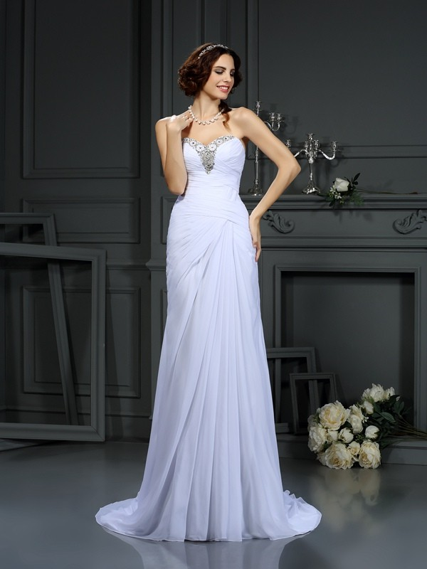 Pleasant Emphasis Sheath Style Sweetheart Beading Long Chiffon Wedding Dresses