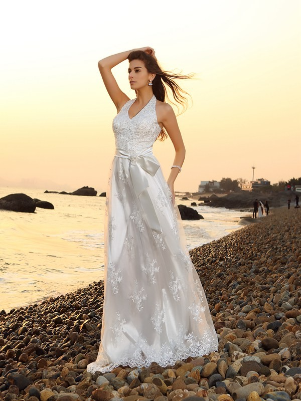 Creative Courage Princess Style Halter Sash/Ribbon/Belt Long Lace Beach Wedding Dresses