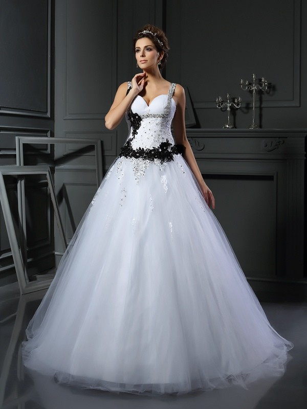 Visual Moment Ball Gown Straps Beading Long Tulle Wedding Dresses