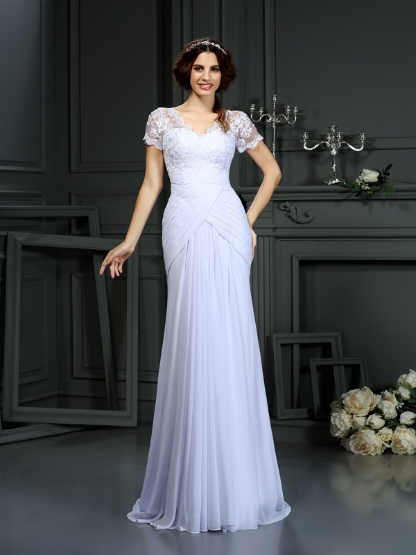 Too Much Fun Sheath Style V-neck Lace Long Chiffon Wedding Dresses
