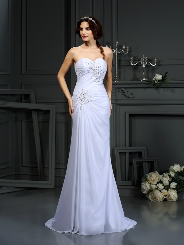 Just My Style Sheath Style Sweetheart Beading Long Chiffon Wedding Dresses