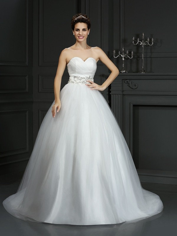 Beautiful You Ball Gown Sweetheart Beading Long Net Wedding Dresses