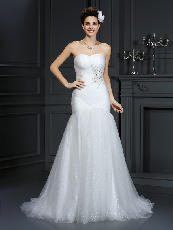 Chic Chic London Sheath Style Sweetheart Beading Long Net Wedding Dresses