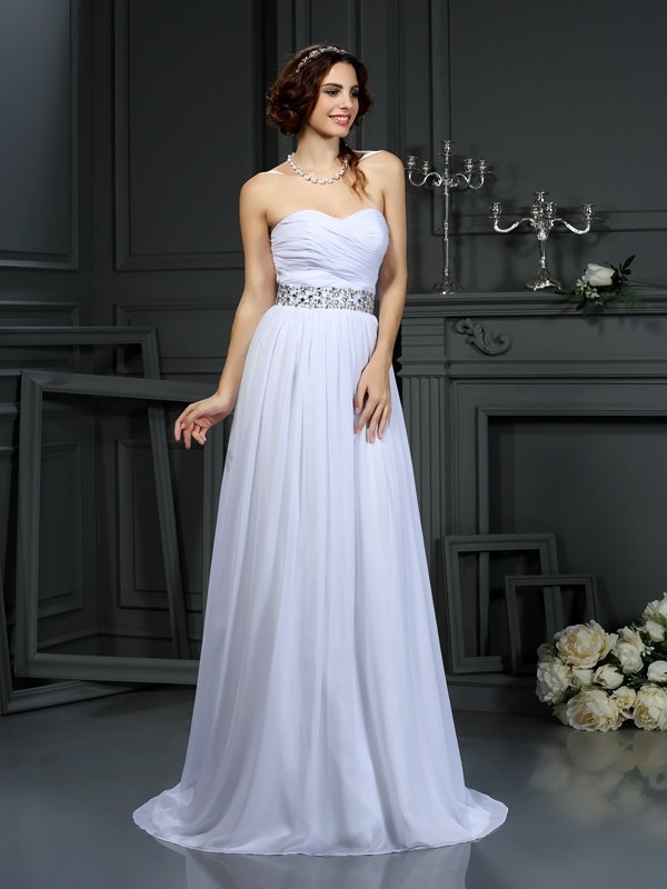 Cordially Delighted Princess Style Sweetheart Beading Long Chiffon Wedding Dresses