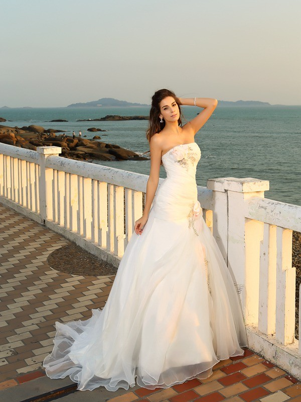 Pleased to be Me Ball Gown Strapless Hand-Made Flower Long Satin Beach Wedding Dresses