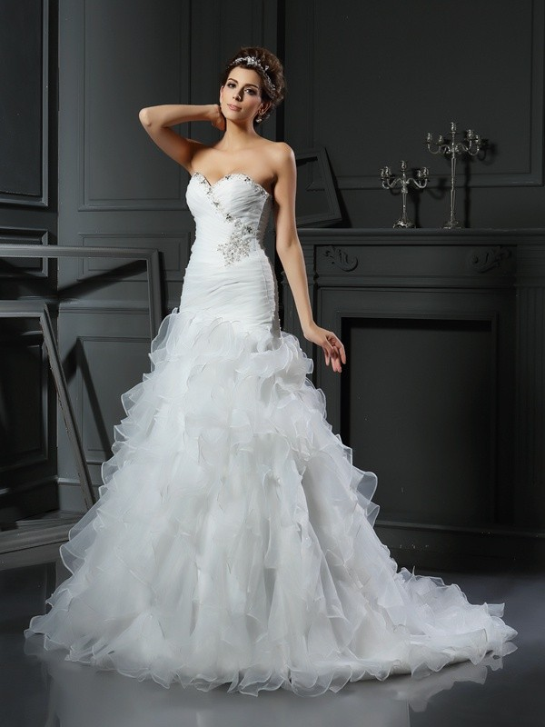 Embracing Grace Mermaid Style Sweetheart Ruffles Long Organza Wedding Dresses