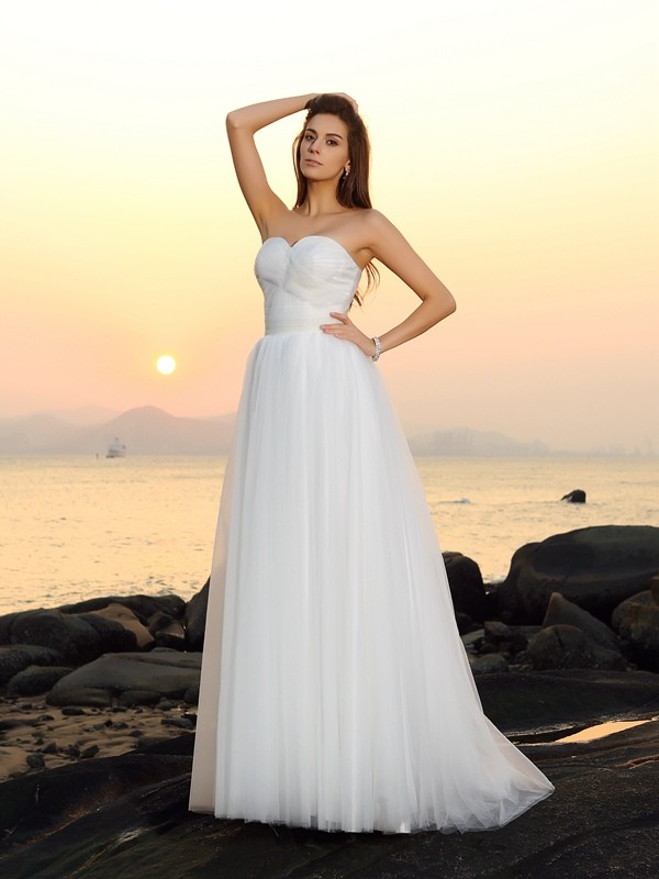 Glitz the Spot Princess Style Sweetheart Long Net Beach Wedding Dresses