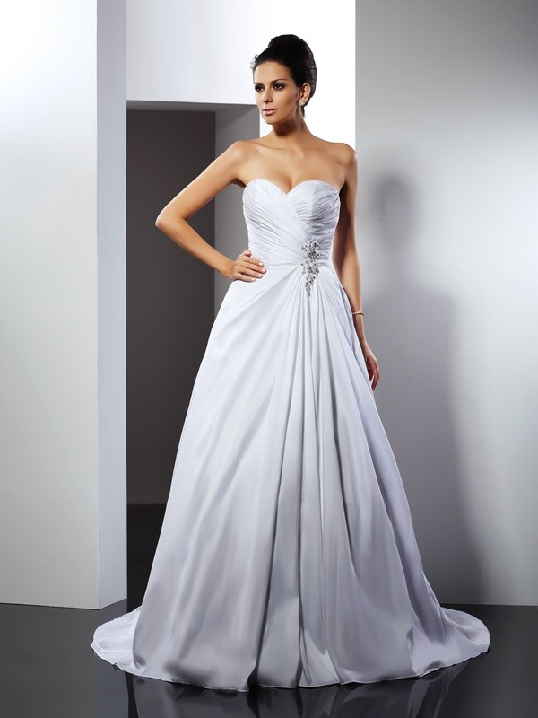 Desired Spotlight Princess Style Sweetheart Ruffles Long Satin Wedding Dresses