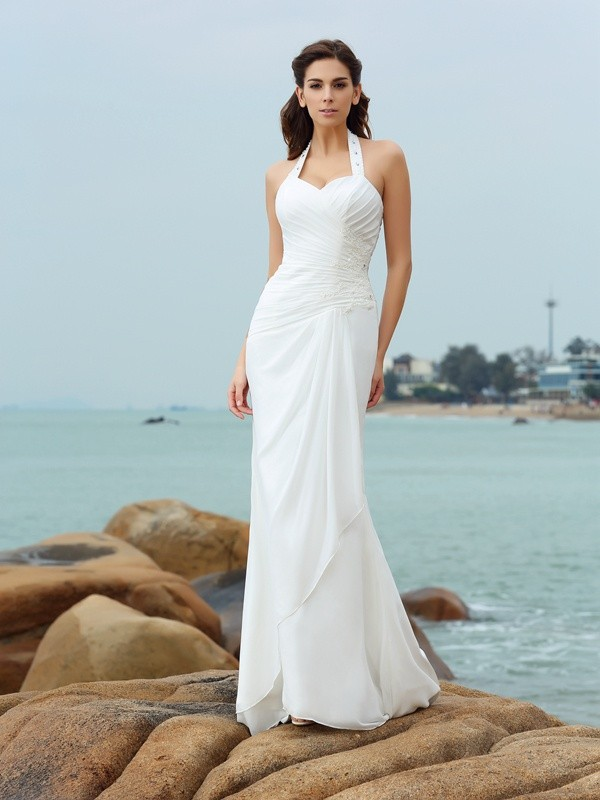 Comfortably Chic Sheath Style Halter Pleats Long Chiffon Beach Wedding Dresses