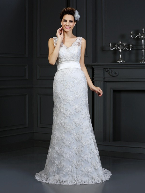 Efflorescent Dreams Mermaid Style Sweetheart Applique Long Lace Wedding Dresses