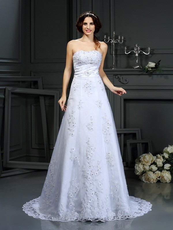 Voiced Vivacity Princess Style Strapless Applique Long Satin Wedding Dresses