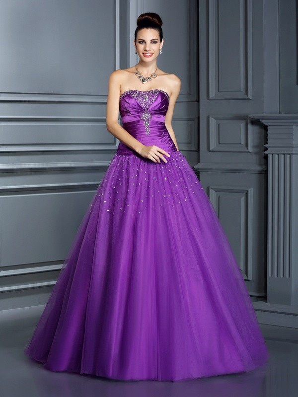 Stylish Refresh Ball Gown Strapless Long Taffeta Quinceanera Dresses