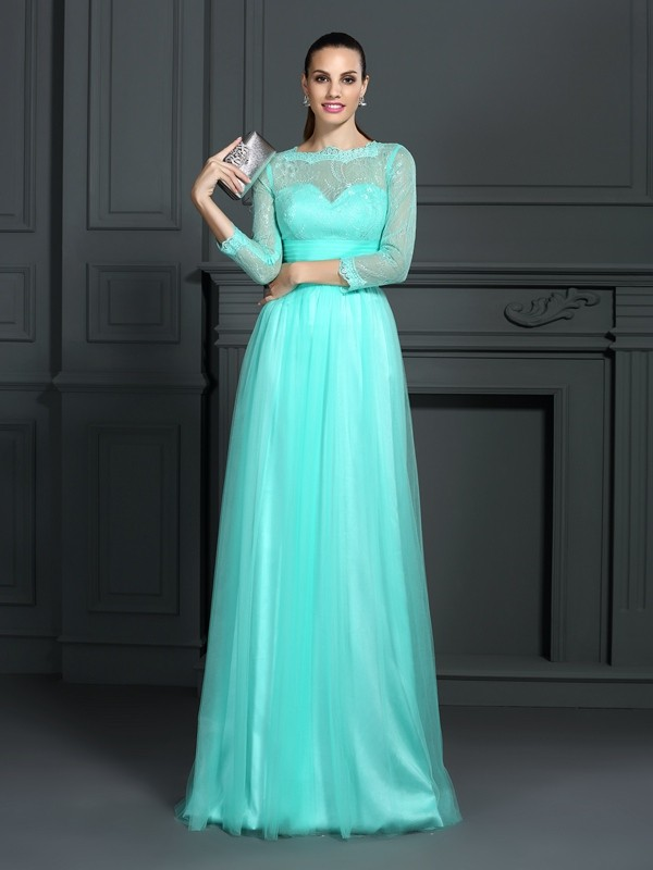 Touch of Texture Princess Style Bateau Lace Long Elastic Woven Satin Dresses
