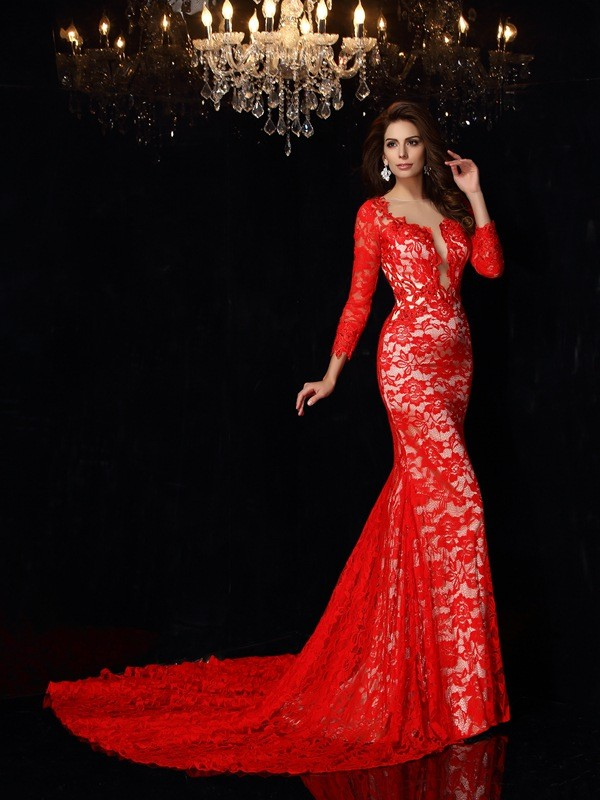 Savor the Occasion Sheath Style Scoop Lace Long Elastic Woven Satin Dresses