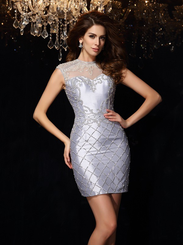 Time to Shine Sheath Style High Neck Beading Short Taffeta Cocktail Dresses