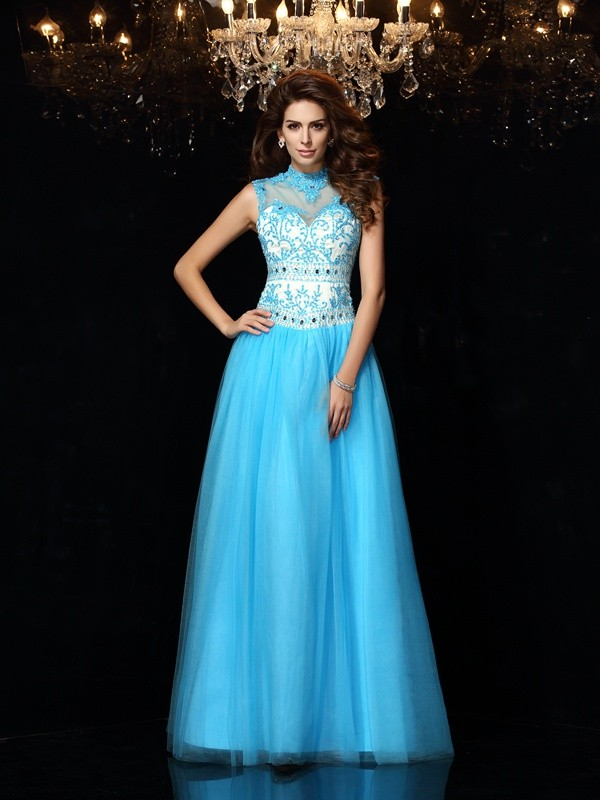 First Impressions Princess Style High Neck Applique Long Satin Dresses