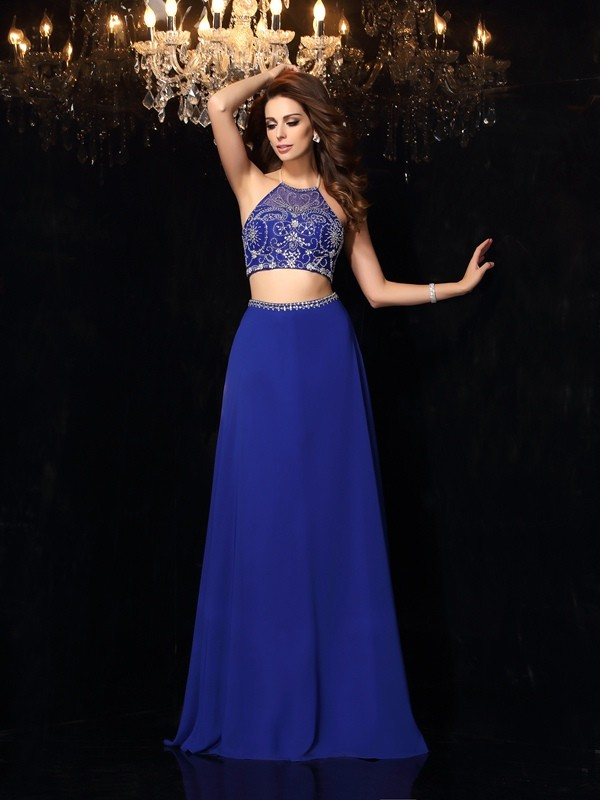 Just My Style Princess Style High Neck Beading Long Chiffon Two Piece Dresses