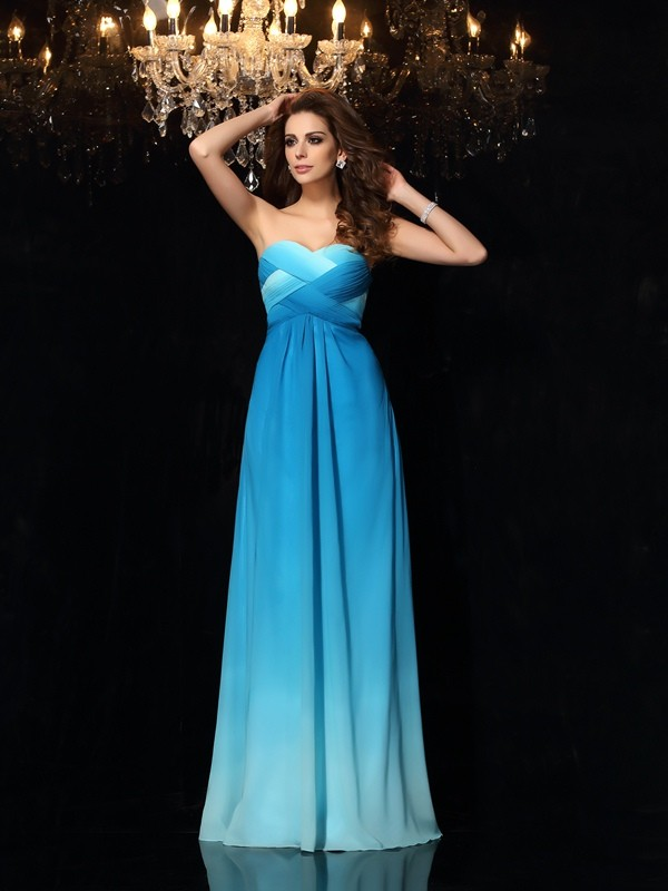 Eye-Catching Charm Princess Style Sweetheart Ruched Long Chiffon Dresses