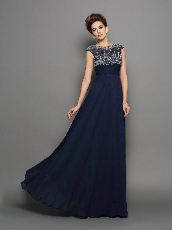 Yours Truly Princess Style Scoop Beading Long Chiffon Dresses