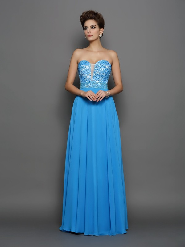 Just My Style Princess Style Sweetheart Applique Long Chiffon Dresses