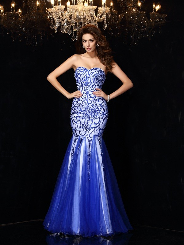 Easily Adored Sheath Style Sweetheart Beading Long Net Dresses