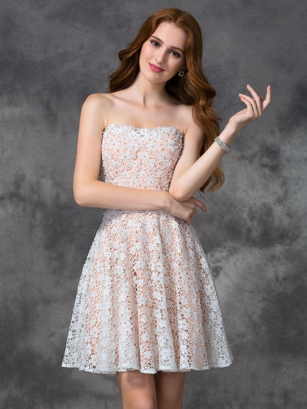 Limitless Looks Princess Style Sweetheart Lace Short Lace Cocktail Dresses