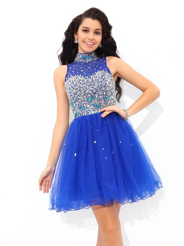Automatic Classic Princess Style High Neck Beading Short Net Cocktail Dresses