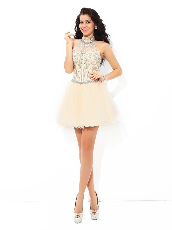 Pretty Looks Princess Style Halter Beading Short Satin Cocktail Dresses
