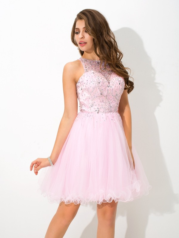 Pleased to be Me Princess Style Sheer Neck Beading Short Net Cocktail Dresses