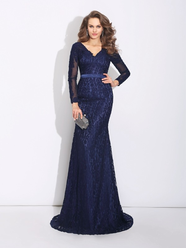 Memorable Magic Sheath Style V-neck Long Lace Dresses