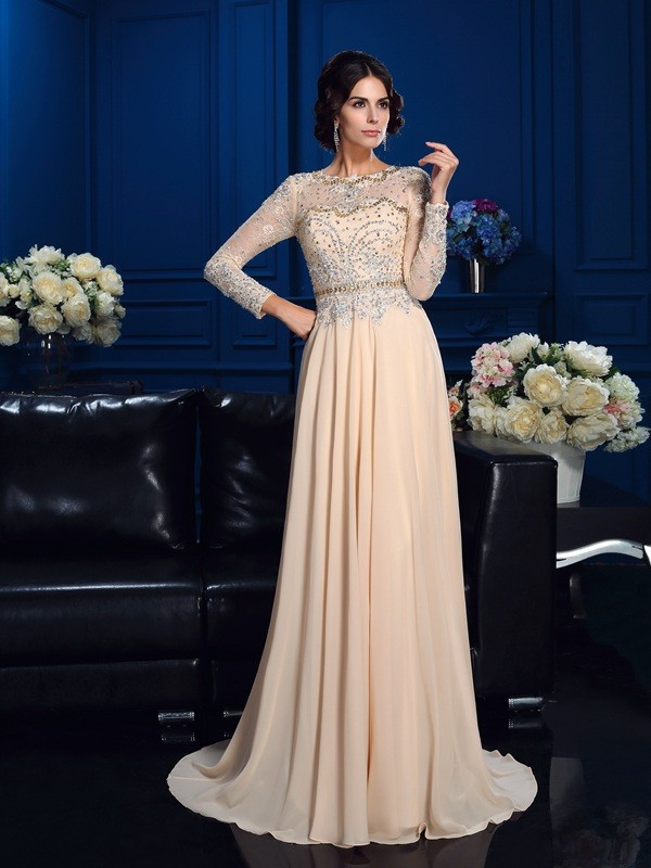 Fresh Picks Princess Style Scoop Beading Long Chiffon Mother of the Bride Dresses
