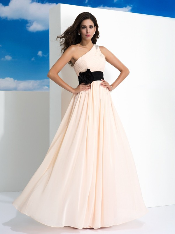 Cordially Delighted Princess Style One-Shoulder Sash/Ribbon/Belt Long Chiffon Dresses