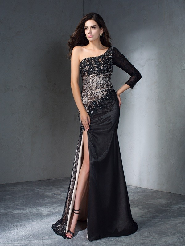 Pleased to be Me Mermaid Style One-Shoulder Long Lace Dresses