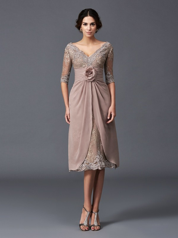 Aesthetic Honesty Princess Style V-neck Hand-Made Flower Short Lace Mother of the Bride Dresses