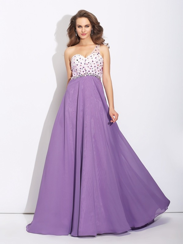 Festive Self Princess Style One-Shoulder Crystal Long Chiffon Dresses